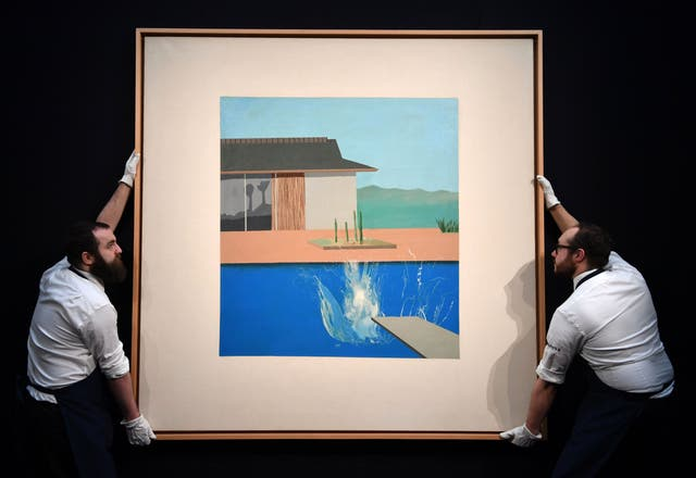 The Splash (1966) by British artist David Hockney, shown during a photo call ahead of its auction at Sotheby's in London