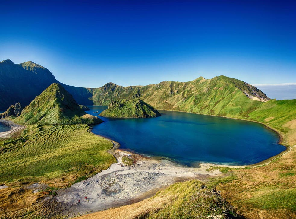 Stock image of Yankicha Island, part of the larger volcanic Ushishir Island in the Kuril Islands archipelago, located between Japan and Russia.