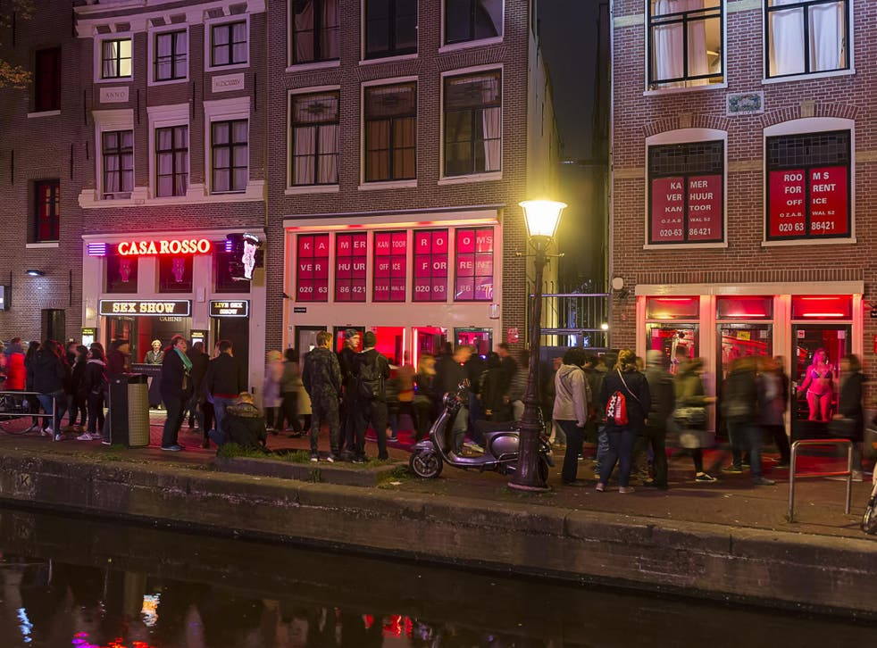 Stock image of the red light district, in Amsterdam.
