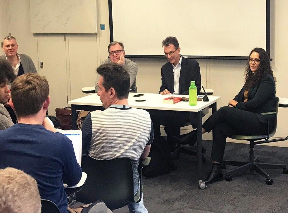 Ed's up: Balls (second left) takes a student's question alongside course tutors (from left) Jon Davis, John Rentoul and Michelle Clement
