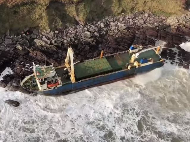 The abandoned MV Alta cargo ship washed up on rocks near Ballycotton, County Cork, Ireland, 16 February, 2020, after drifting across the Atlantic over the course of more than a year.