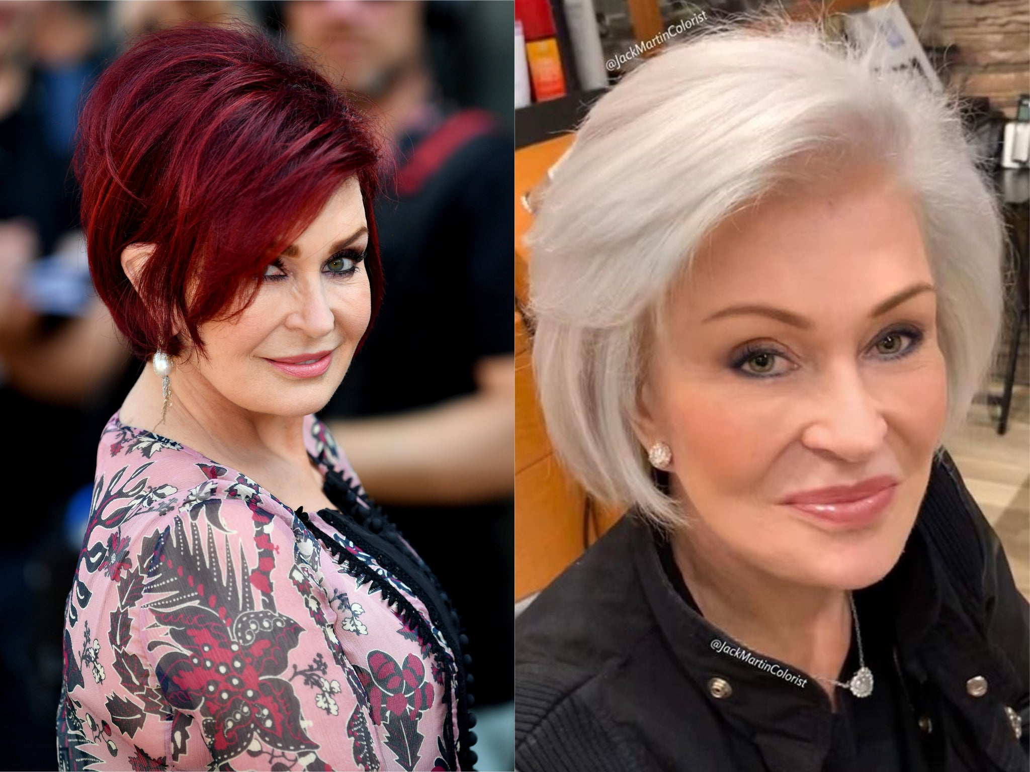 Sharon Osbourne debuts new platinum hair colour
