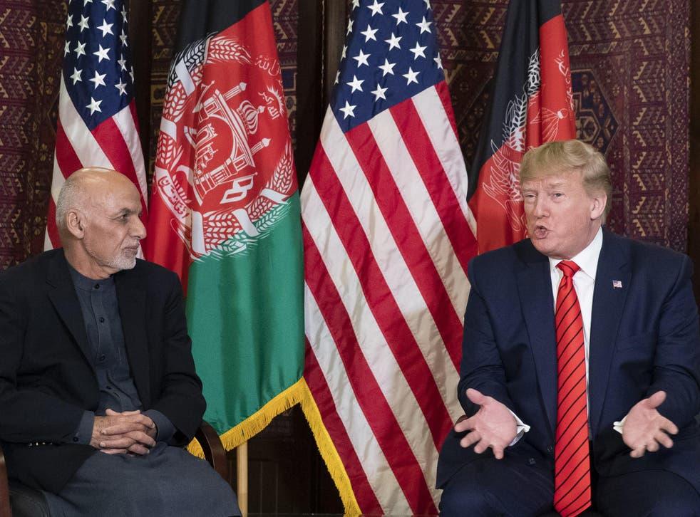 Trump met with Afghan president Ghani during a surprise visit to US troops in November