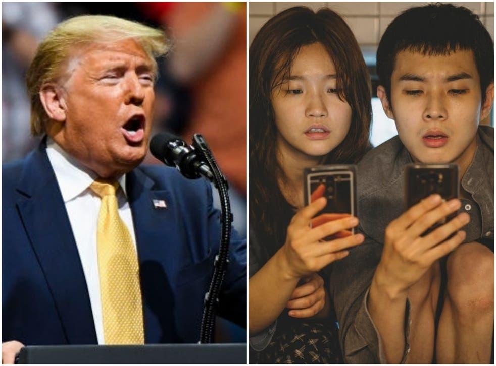 Not a fan: Donald Trump at his Colorado rally, and Parasite stars Park So-dam and Choi Woo-shik