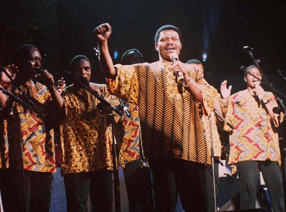 Shabalala fronts Ladysmith Black Mambazo during the concert for Nelson Mandela at the Albert Hall, London, in 1996