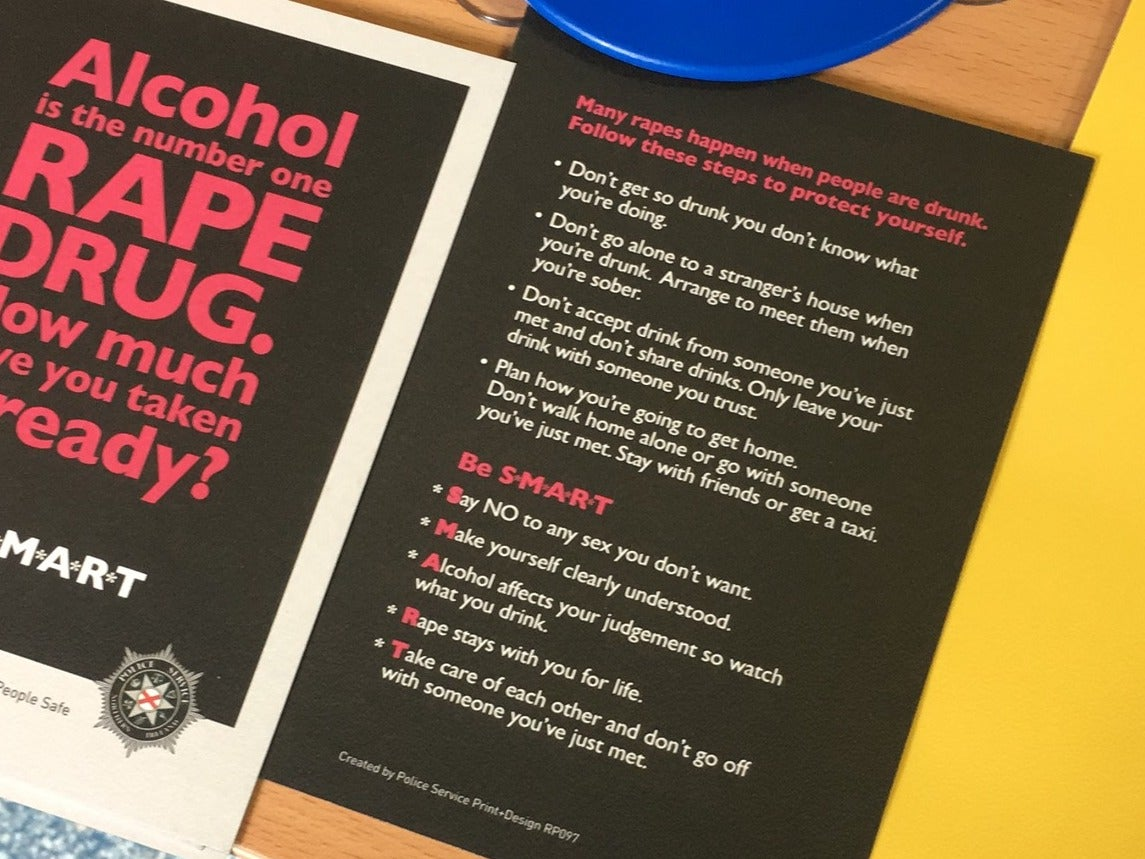 Police apologise for leaflets which linked rape to alcohol consumption