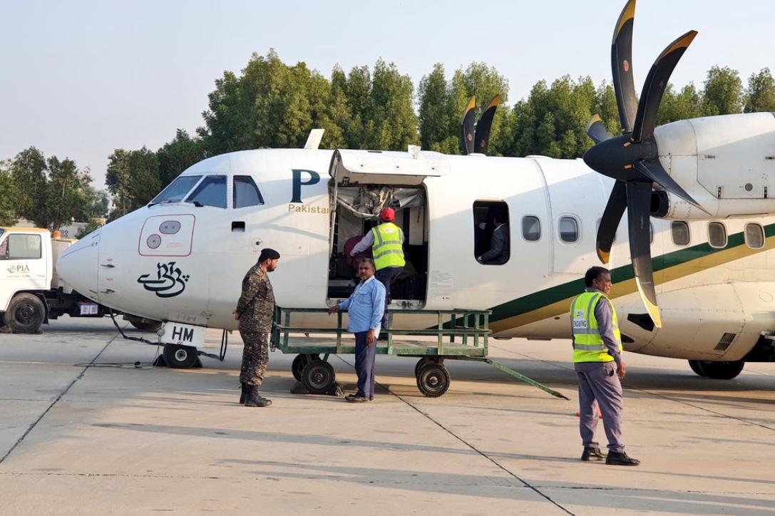 Plane door opens during landing on flight