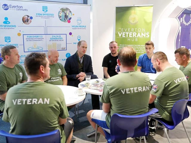 Veterans speaking with Prince William in Liverpool at Everton Football Club charity 'Everton in the Community' on 30 January 2020