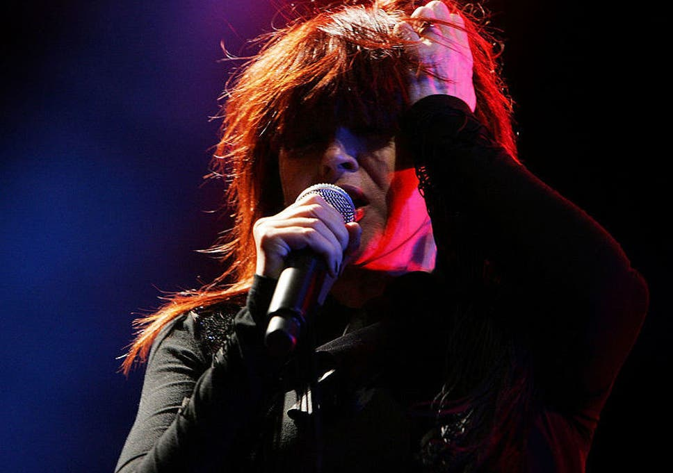 Raunchy riffing: Divinyls frontwoman Chrissy Amphlett performs on stage in 2007