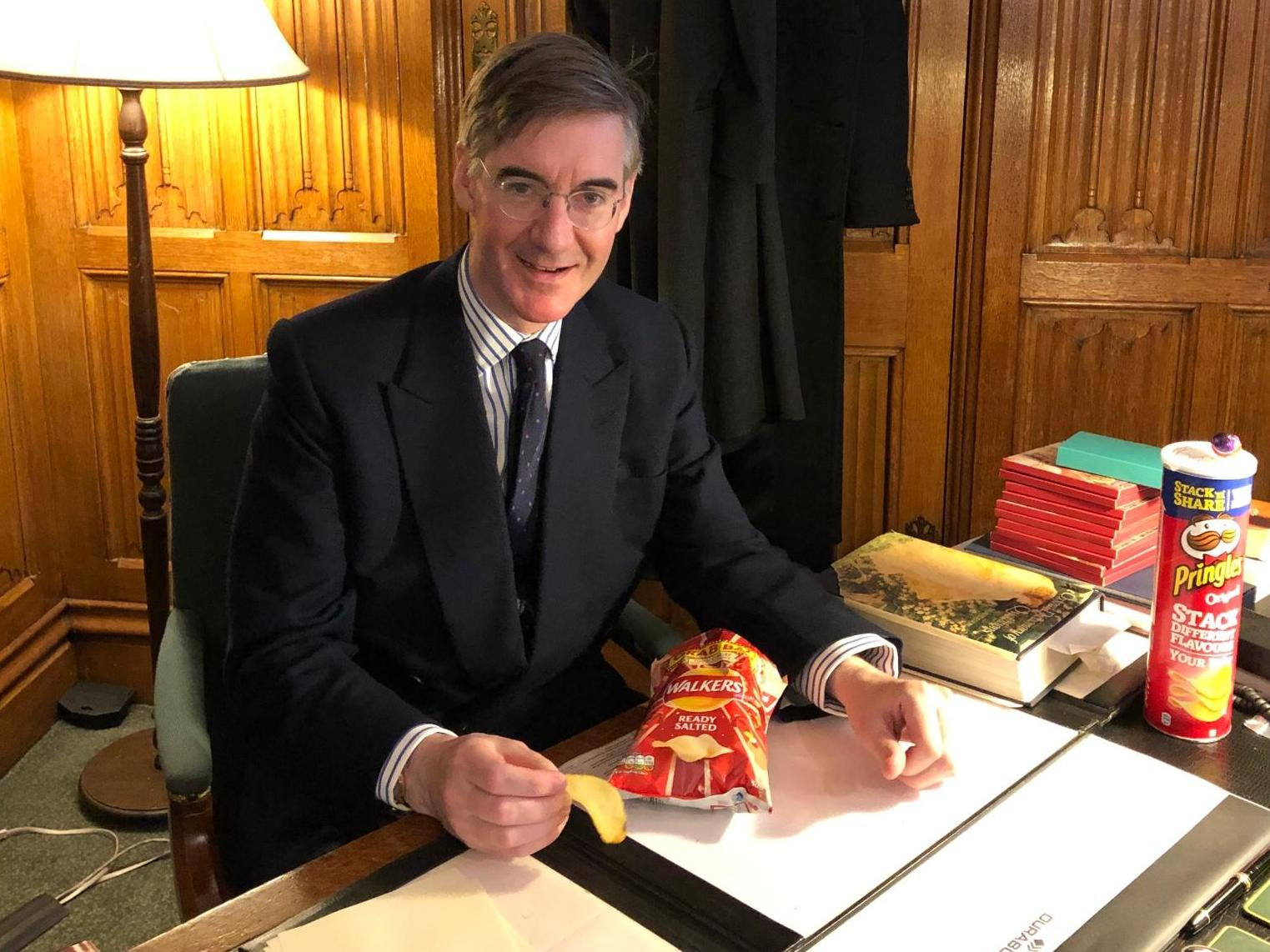 Crisp makers race to distance themselves from Jacob Rees-Mogg after photo with Walkers and Pringles