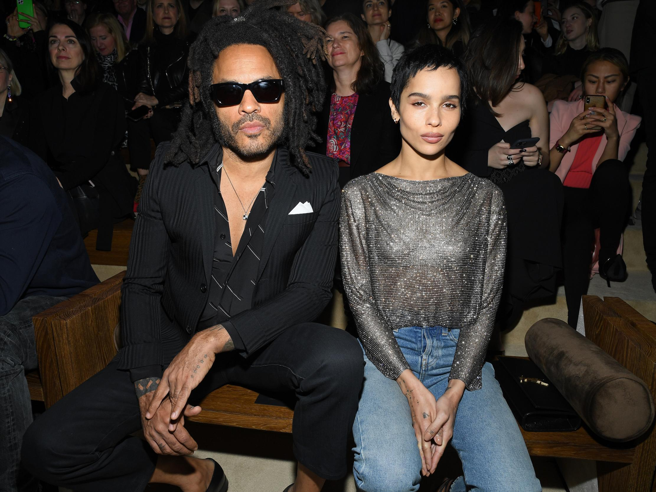 Paris Fashion Week: Zoe and Lenny Kravitz have father-daughter moment on frow