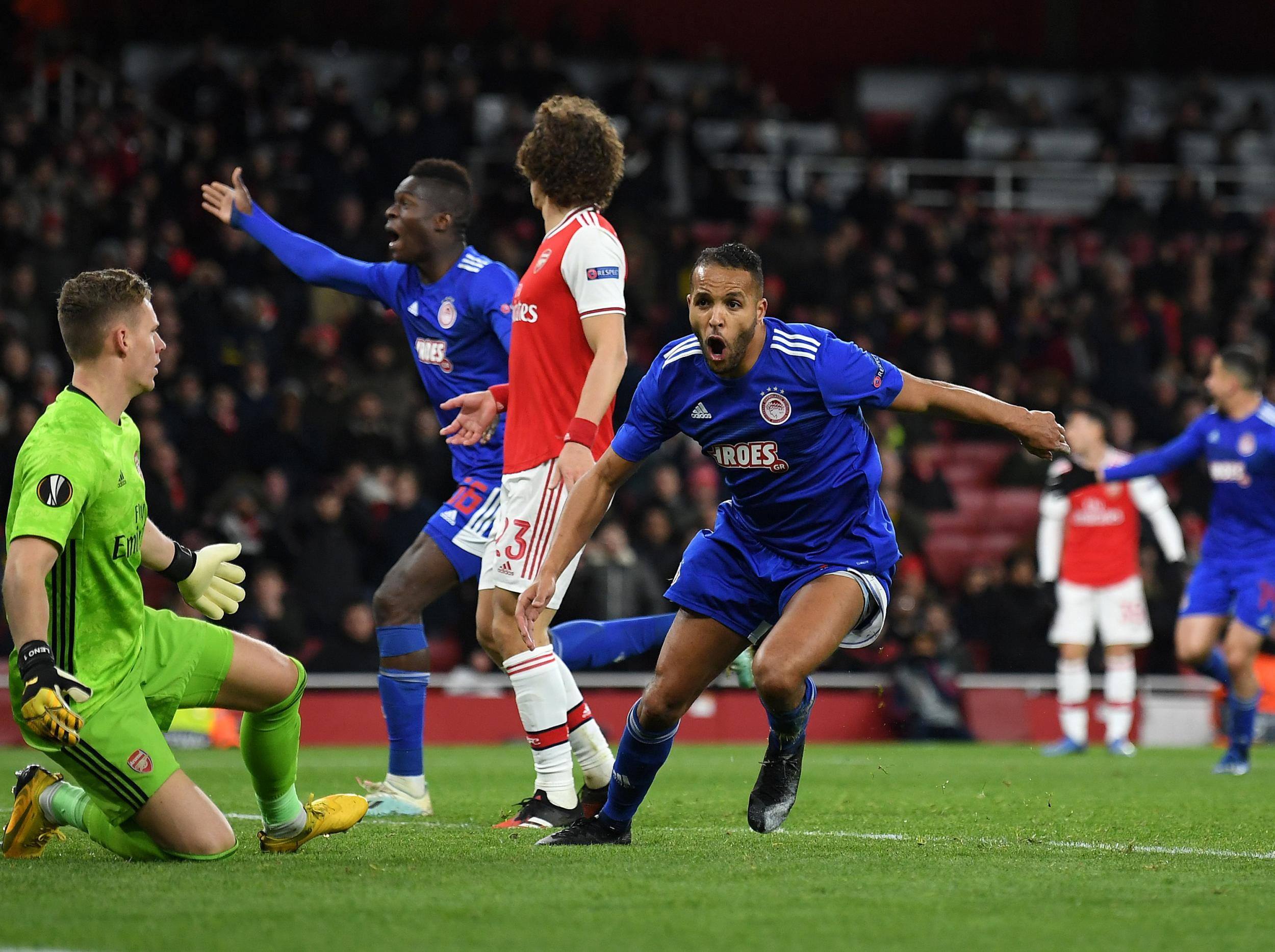 Arsenal suffer extra-time European exit at hands of Olympiacos