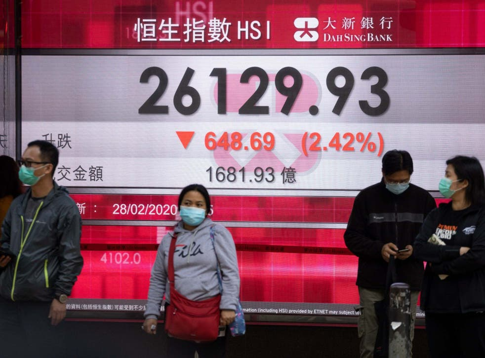 An electronic display showing the closing figure of the Hang Seng Index in Hong Kong yesterday