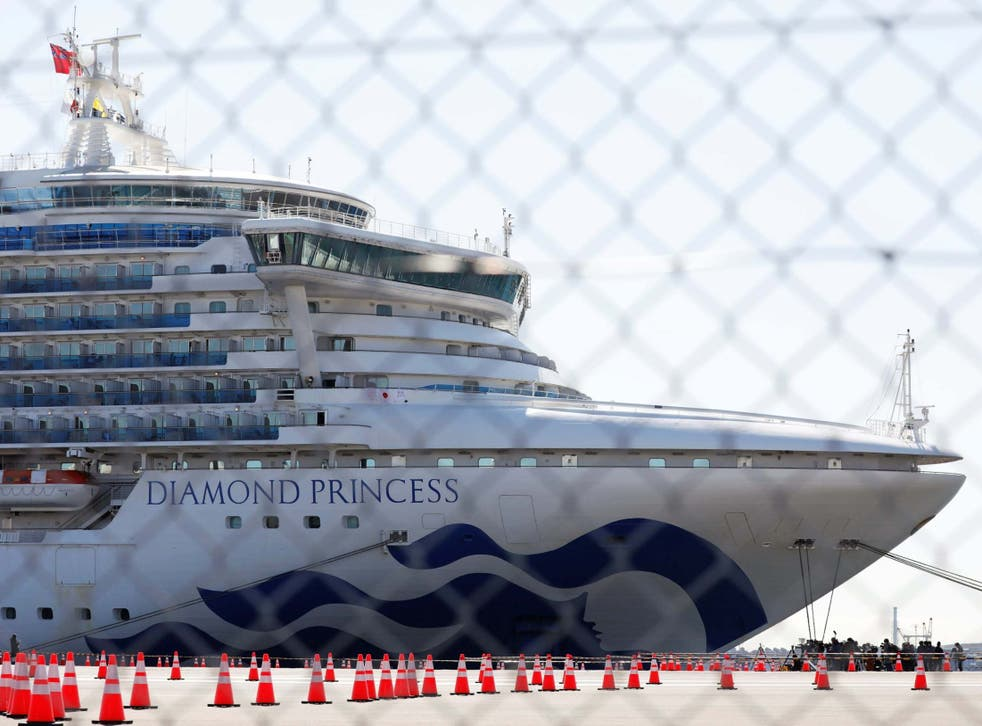 The Diamond Princess, on which dozens of passengers tested positive for coronavirus, at Daikoku Pier Cruise Terminal in Yokohama, south of Tokyo, in February