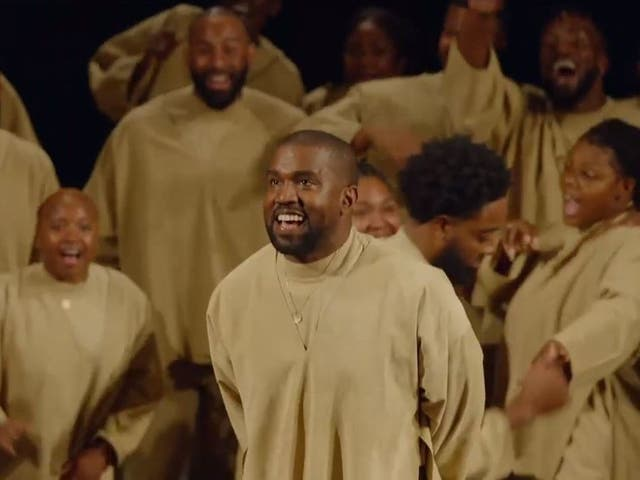 Kanye West during the Sunday Service performance at Paris Fashion Week