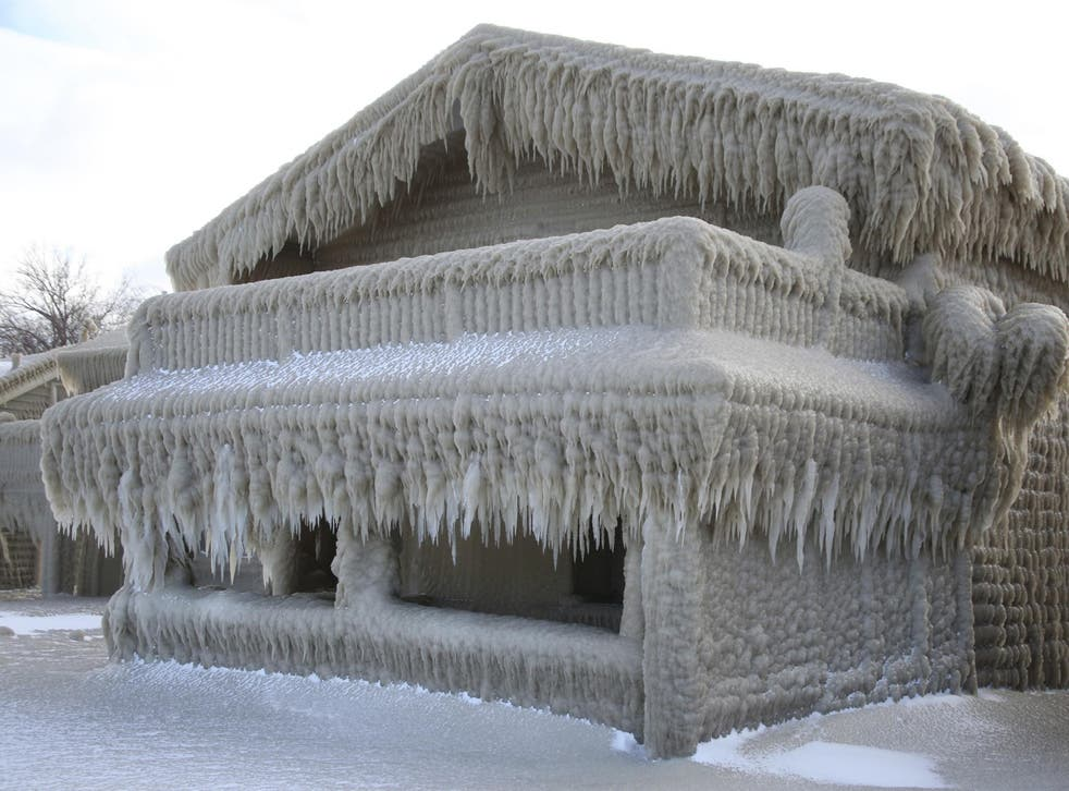 One fairytale home in Hamburg, which has been layered in a thick coating of ice after two days of storms