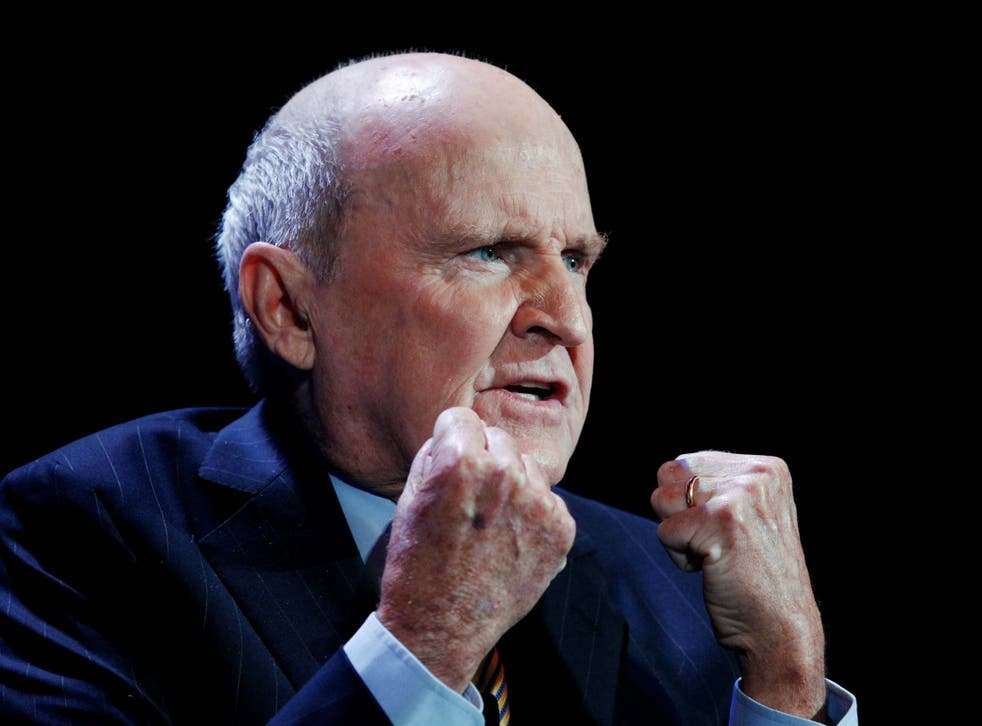 Jack Welch speaking during the World Business Forum in New York 5 October 2010