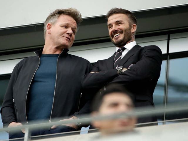 David Beckham, pictured alongside Gordon Ramsay, watches Inter Miami in action