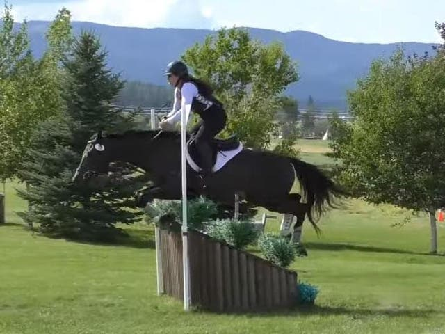 Katharine Morel and her horse Kerry On from a YouTube video from a long cross country event in July 2019