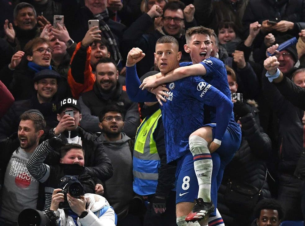Ross Barkley and Billy Gilmour celebrate Chelsea's second goal