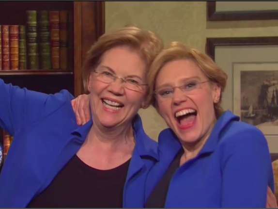 Elizabeth Warren meets herself on Saturday Night Live