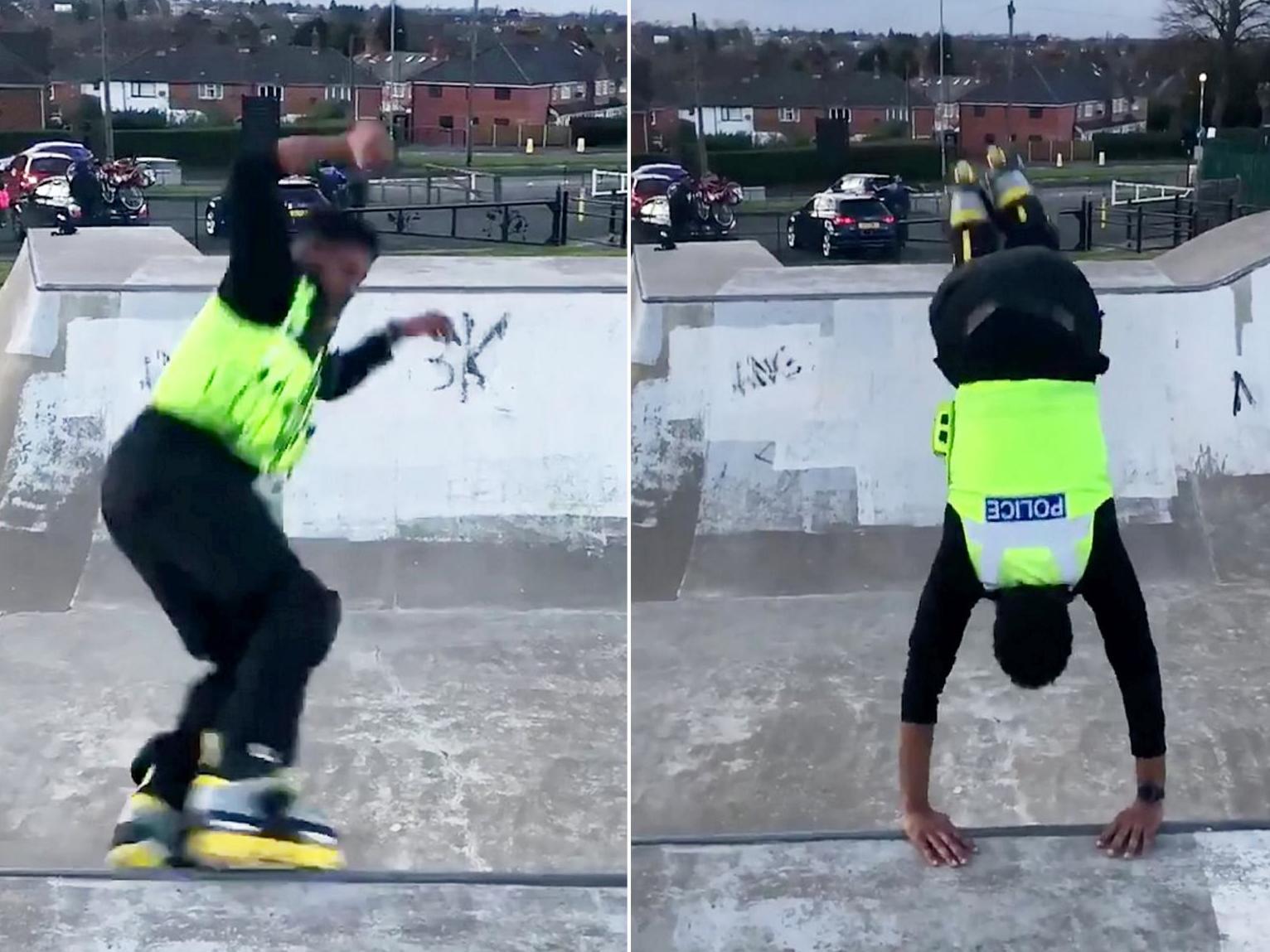 Roller-skating police officer goes viral