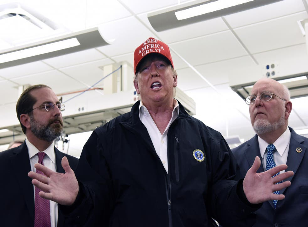 Donald Trump jousted with reporters during a wild gaggle at CDC headquarters in Atlanta on Friday. AP