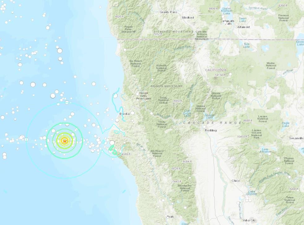 Seven earthquakes hit off the California coast on Sunday night