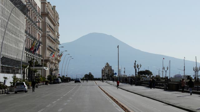 The Via Partenope in Naples is empty after Italy was put on lockdown on 10 March