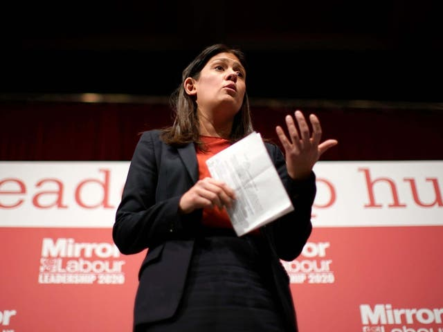 Lisa Nandy takes part in the last Labour Party leadership hustings at Dudley Town Hall on 8 March 2020.