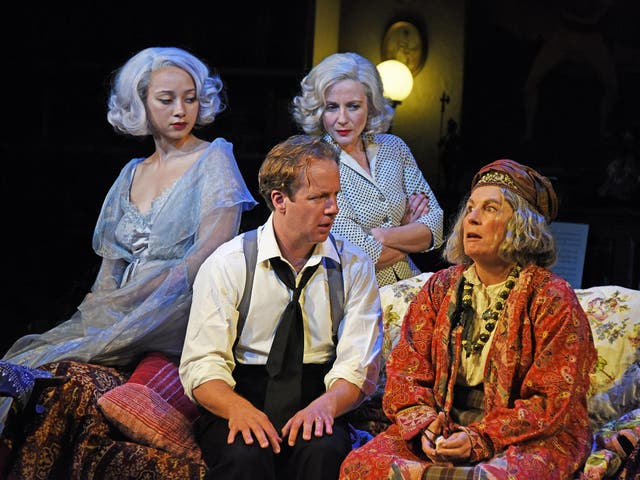 Saunders as unapologetically eccentric Arcati, with Geoffrey Streatfeild as Charles Condomine, Emma Naomi as Elvira, left, and Lisa Dillon as Ruth