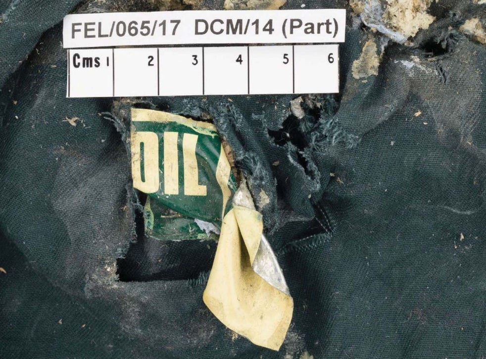 A fragment of a vegetable oil can of the type obtained by Hashem Abedi from the scene of the May 2017 Manchester Arena bombing (Greater Manchester Police )