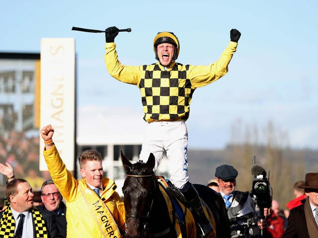 Paul Townend celebrates winning the Cheltenham Gold Cup on Al Boum Photo