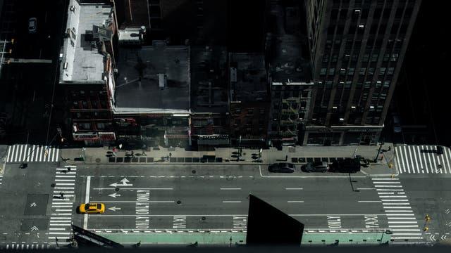 An empty street in Manhattan borough following the outbreak of coronavirus disease in New York City
