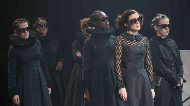 Phoebe Fox, second from right, in the National Theatre's 2017 production of 'Twelfth Night'