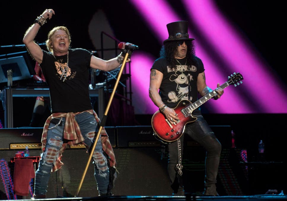 Axl Rose and Slash of the Guns N' Roses perform during the Vive Latino festival in Mexico City on 14 March 2020.