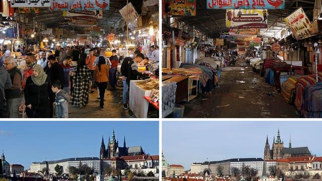 <p><b>Top:</b> Nabi Younes market, Mosul</p> <p><b>Bottom:</b> Charles Bridge, Prague</p>