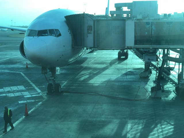 Great escape: Egyptair Boeing 777 at Cairo airport, waiting to depart to London Heathrow