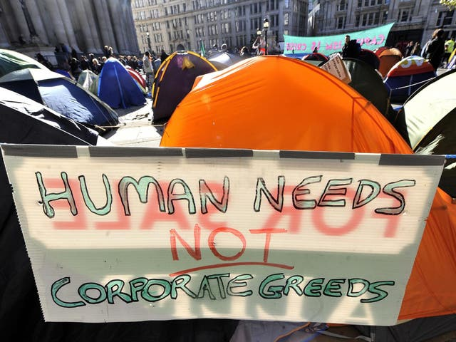 Demonstrators at a protest camp against global capitalism in London's financial district after the banking crisis in 2011