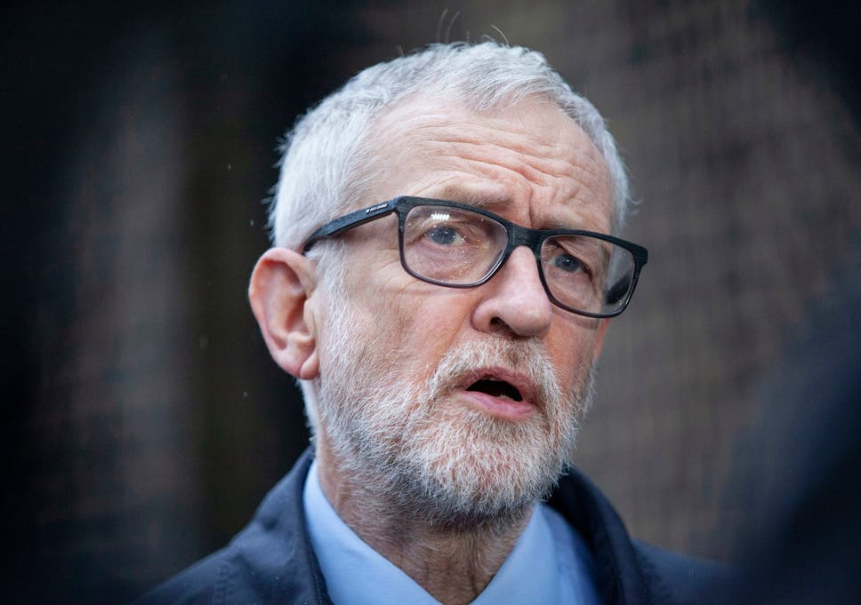 Labour party leader Jeremy Corbyn speaks to the media on the coronavirus pandemic outside the Finsbury Park Jobcentre, north London, on 15 March 2020.
