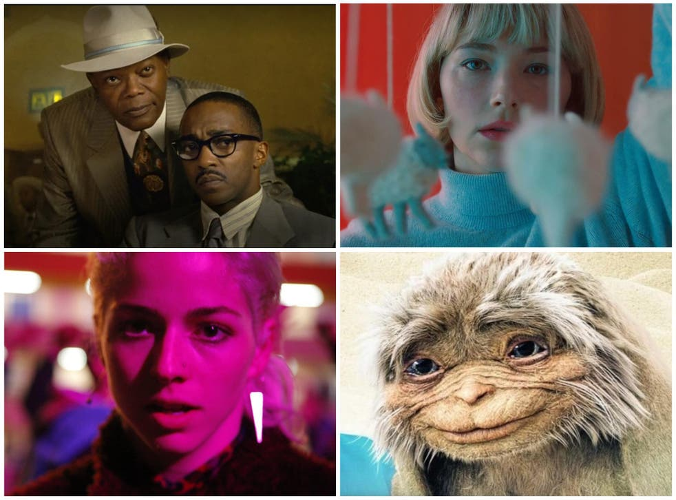 Home entertainment: (clockwise, from top right) Haley Bennett in 'Swallow', 'It' in 'Four Kids and It', Mariana di Girolamo in 'Ema' and Samuel L Jackson and Anthony Mackie in 'The Banker'