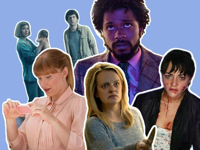 Life imitating art imitating life: Bryce Dallas Howard in 'Black Mirror', 'Imogen Poots and Jesse Eisenberg in 'Vivarium', Lakeith Stanfield in 'Sorry to Bother You', Elisabeth Moss in 'The Invisible Man' and Jaime Winstone in 'Dead Set' (left to right)