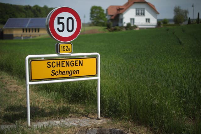 A road sign greets visitors to the town of Schengen where the 1985 European Schengen Agreement was signed