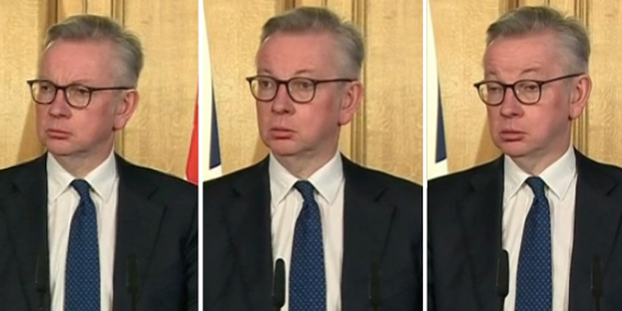 Michael Gove's face when asked if coronavirus proves that the NHS is underfunded says it all