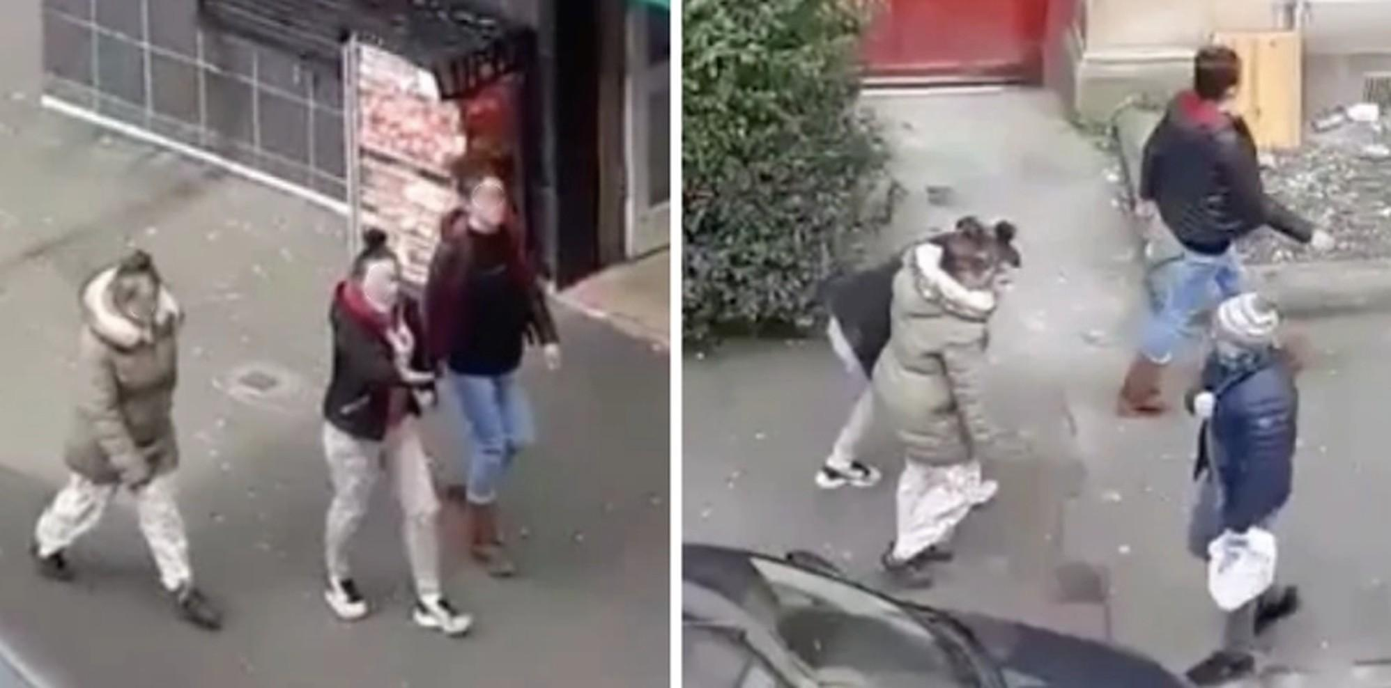 Shocking video captures group of women 'deliberately coughing' on passers by during coronvirus lockdown