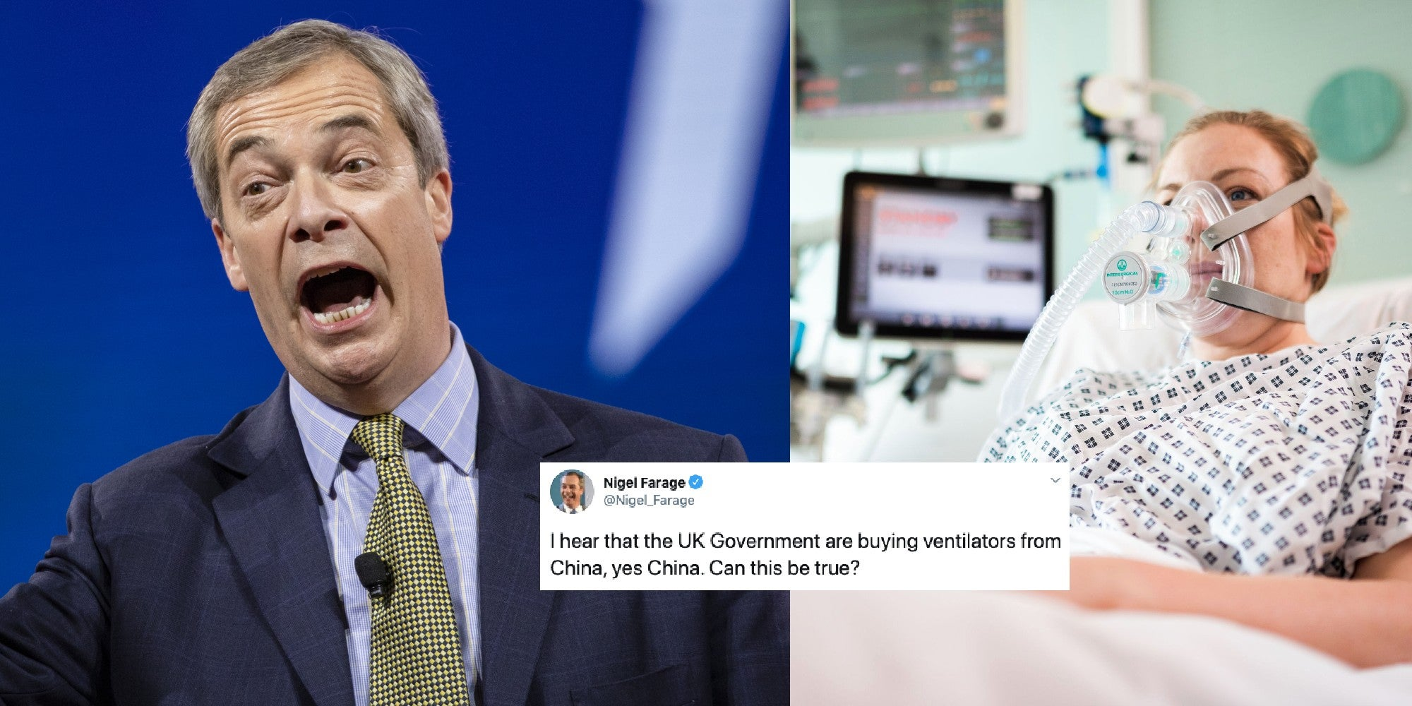 Nigel Farage is not happy the UK is buying life-saving ventilators, because they're from China