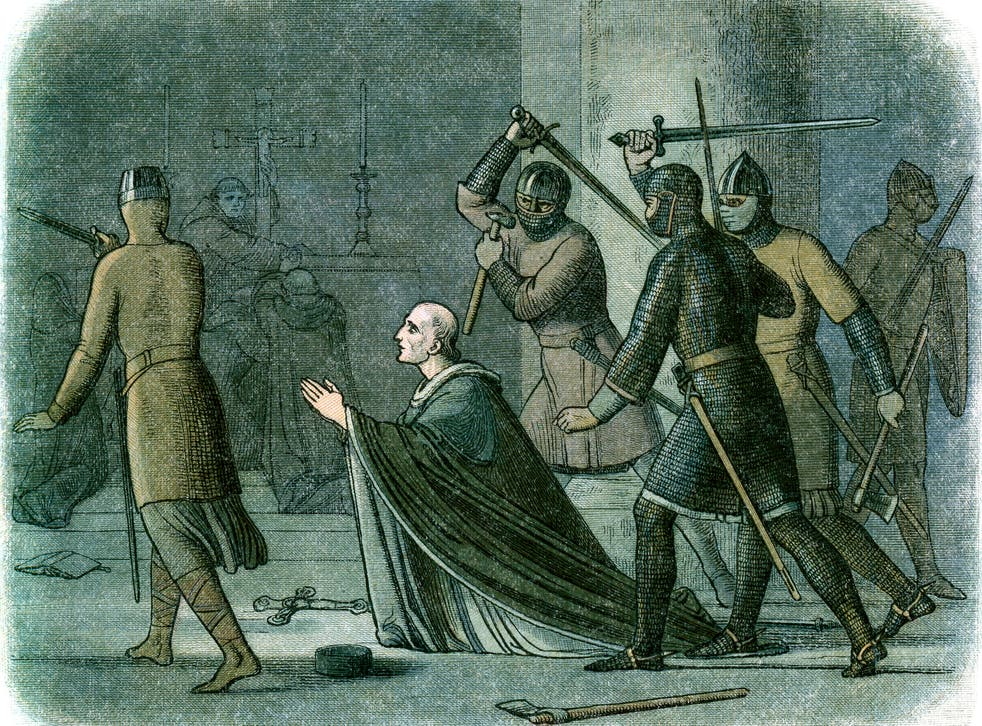 Vintage colour engraving from 1864 showing the murder of Thomas Becket in Canterbury Cathedral