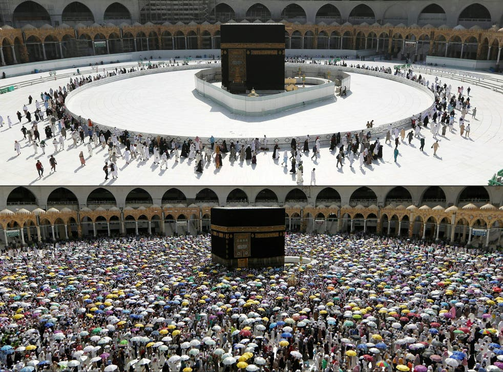 Worshippers circle the the sacred Kaaba in Mecca's Grand Mosque on 7 March this year (above) and 13 August last year (below)