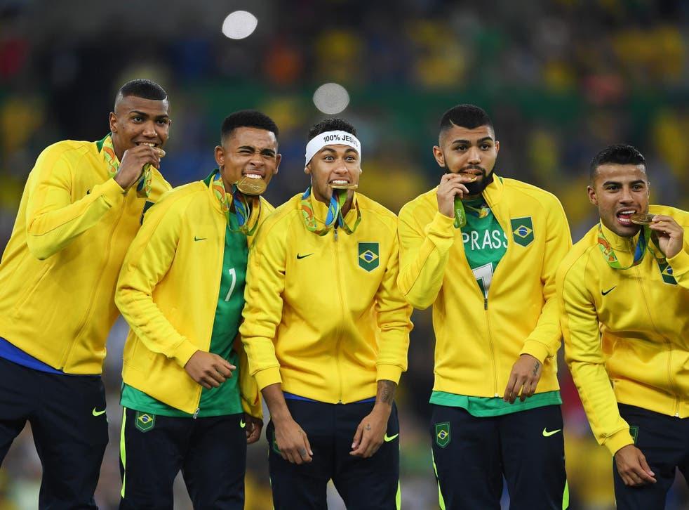 Brazil celebrate winning gold at the 2016 Olympics