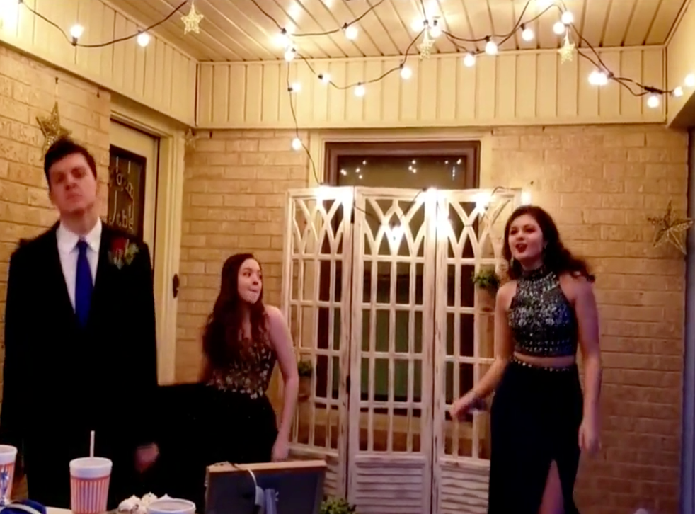 Family hosts 'porch prom' for high school senior after dance is cancelled because coronavirus (Jaci Chapman)